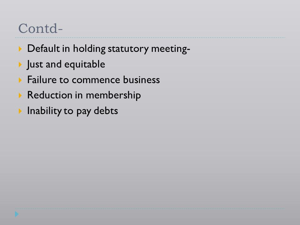 Contd- Default in holding statutory meeting- Just and equitable