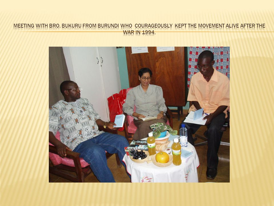 Meeting with Bro. Bukuru from Burundi who courageously KEPT the Movement alive after the war in 1994.