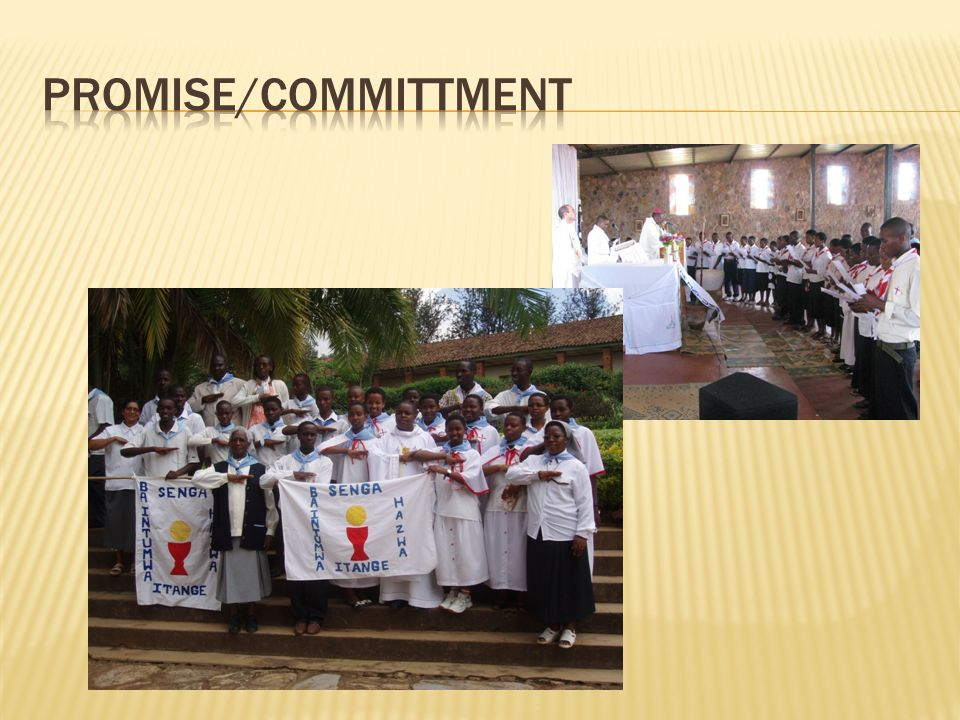 PROMISE/COMMITTMENT The MEJ Flag with four pillars: PRAYER, SERVICE, EUCHARIST, BE APOSTLES