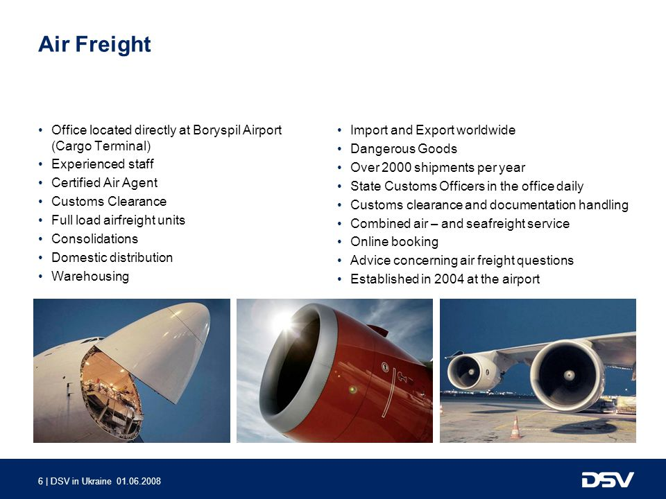 Air Freight Office located directly at Boryspil Airport (Cargo Terminal) Experienced staff. Certified Air Agent.
