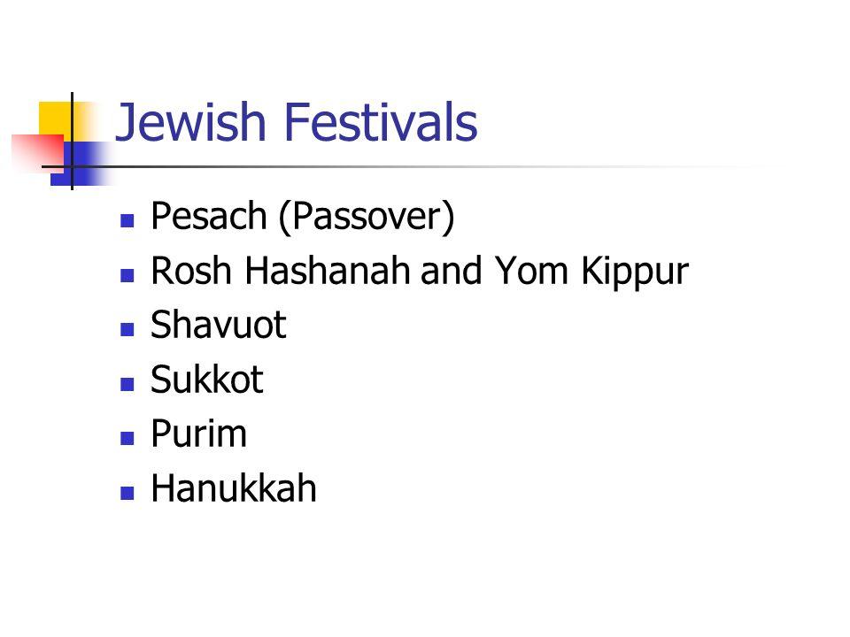 Jewish Festivals Pesach (Passover) Rosh Hashanah and Yom Kippur