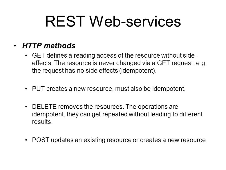 REST Web-services HTTP methods