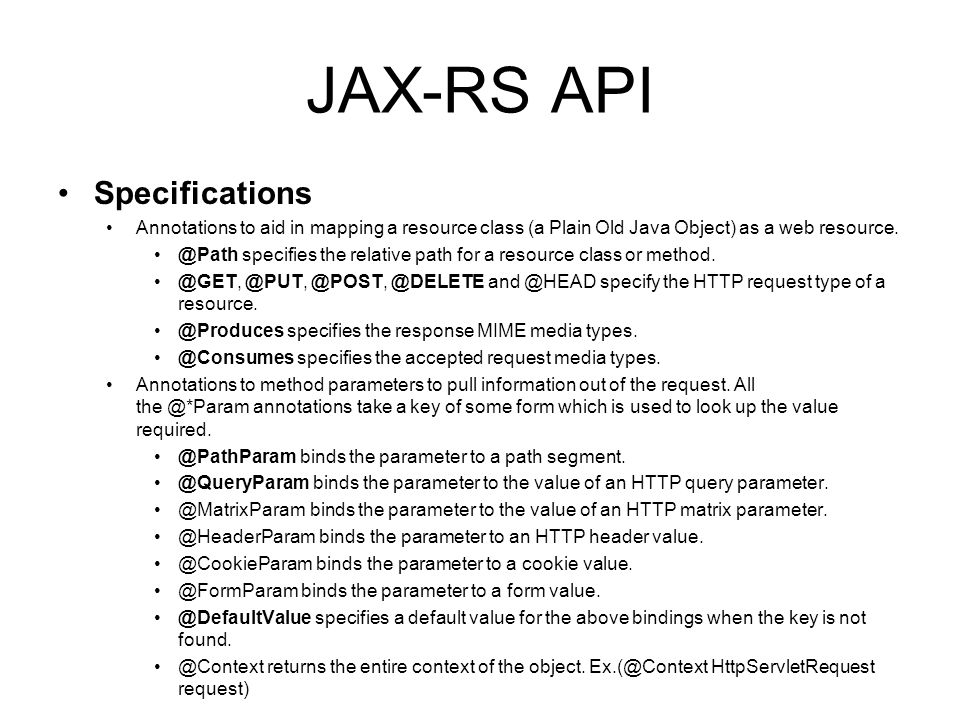 JAX-RS API Specifications