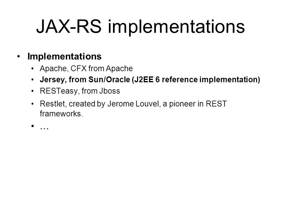JAX-RS implementations