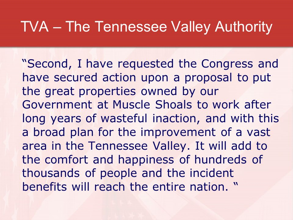 TVA – The Tennessee Valley Authority