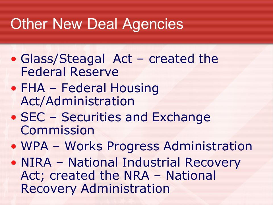 Other New Deal Agencies