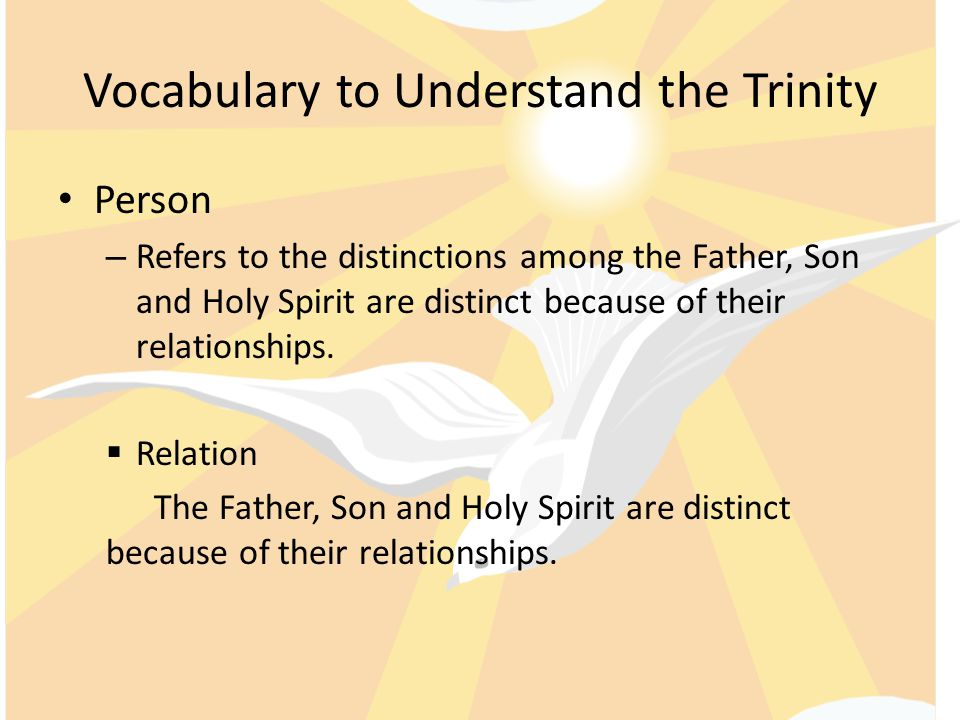 Vocabulary to Understand the Trinity