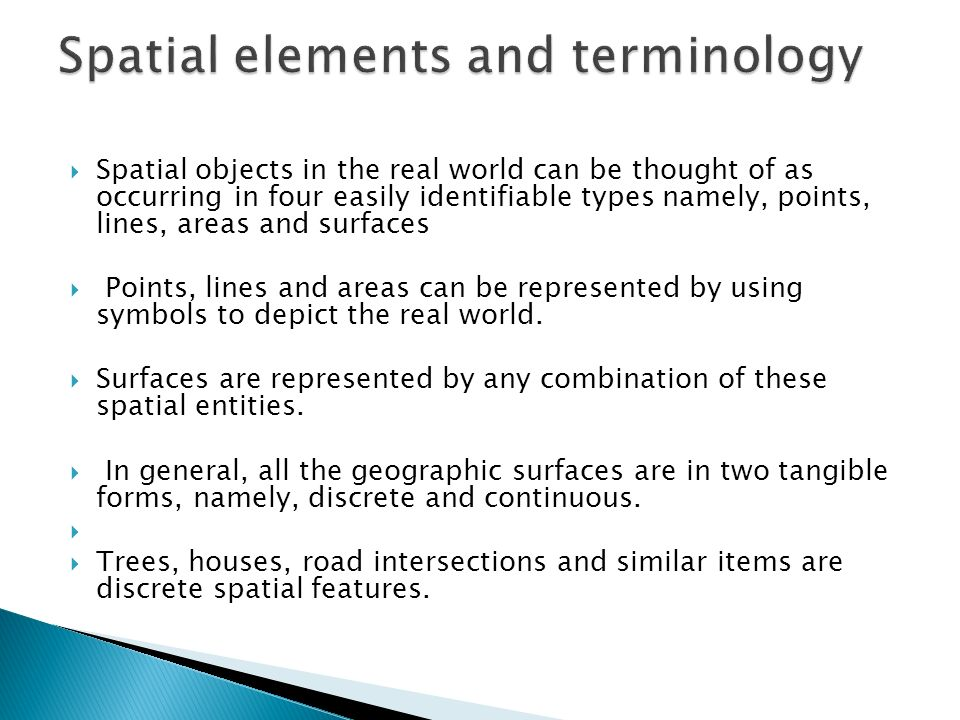 Spatial elements and terminology