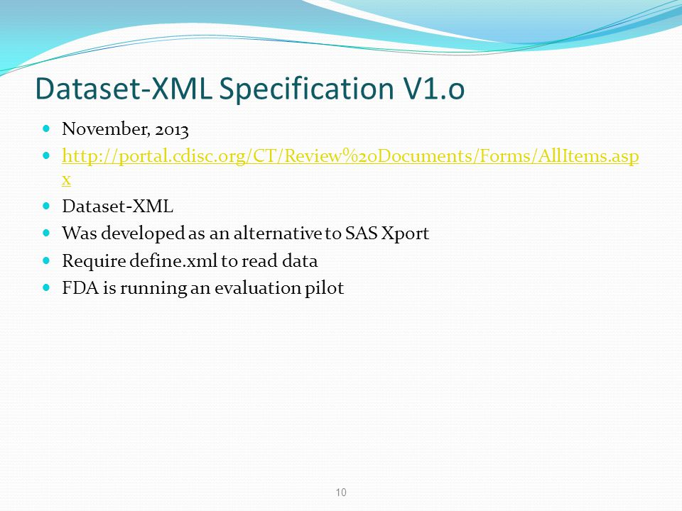 Dataset-XML Specification V1.o