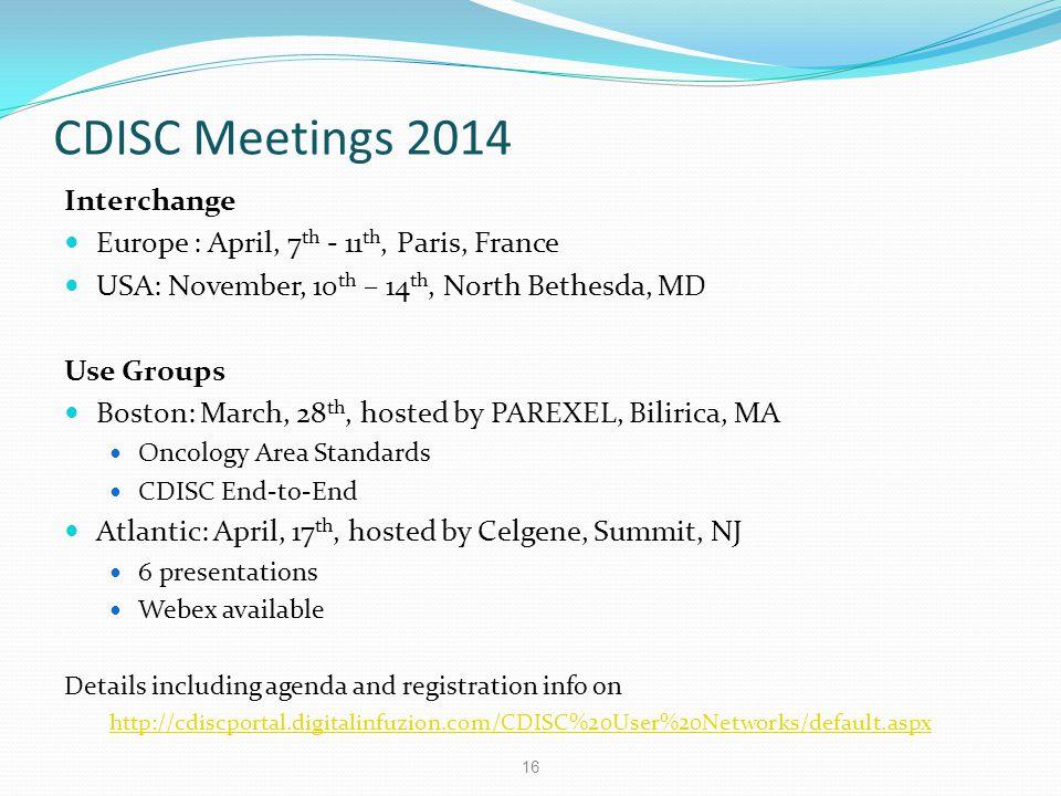 CDISC Meetings 2014 Interchange