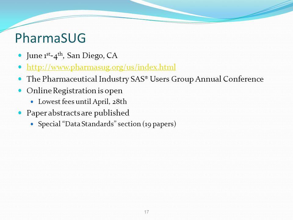 PharmaSUG June 1st-4th, San Diego, CA