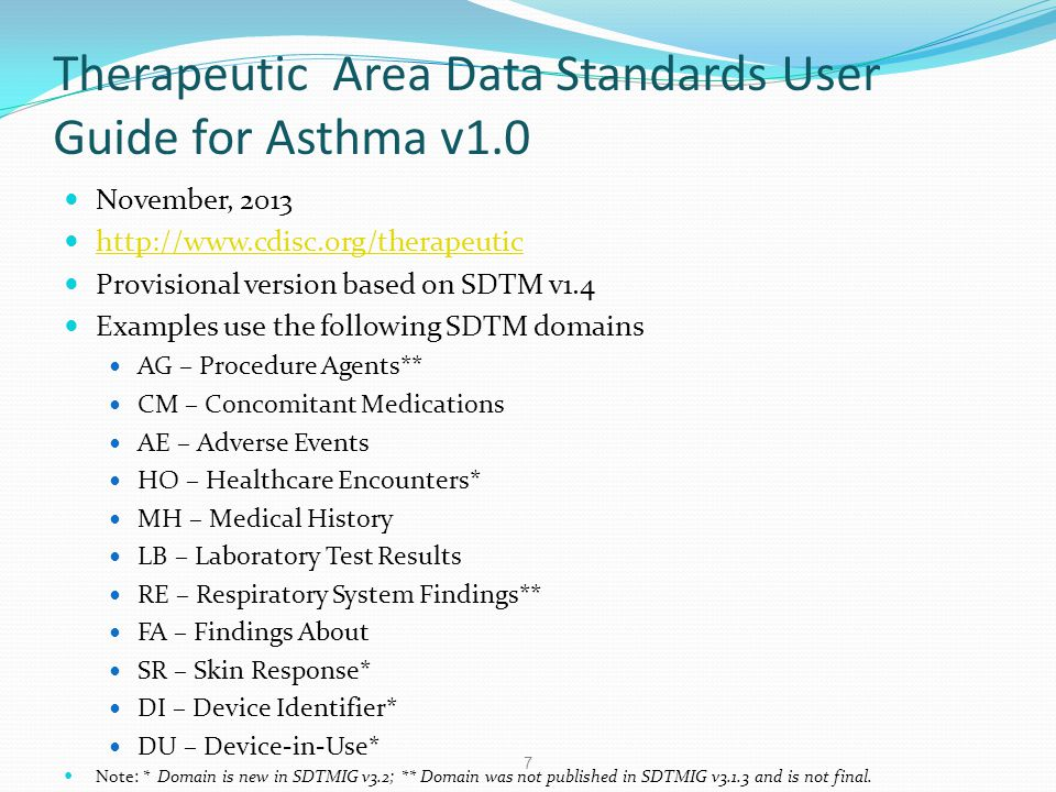 Therapeutic Area Data Standards User Guide for Asthma v1.0