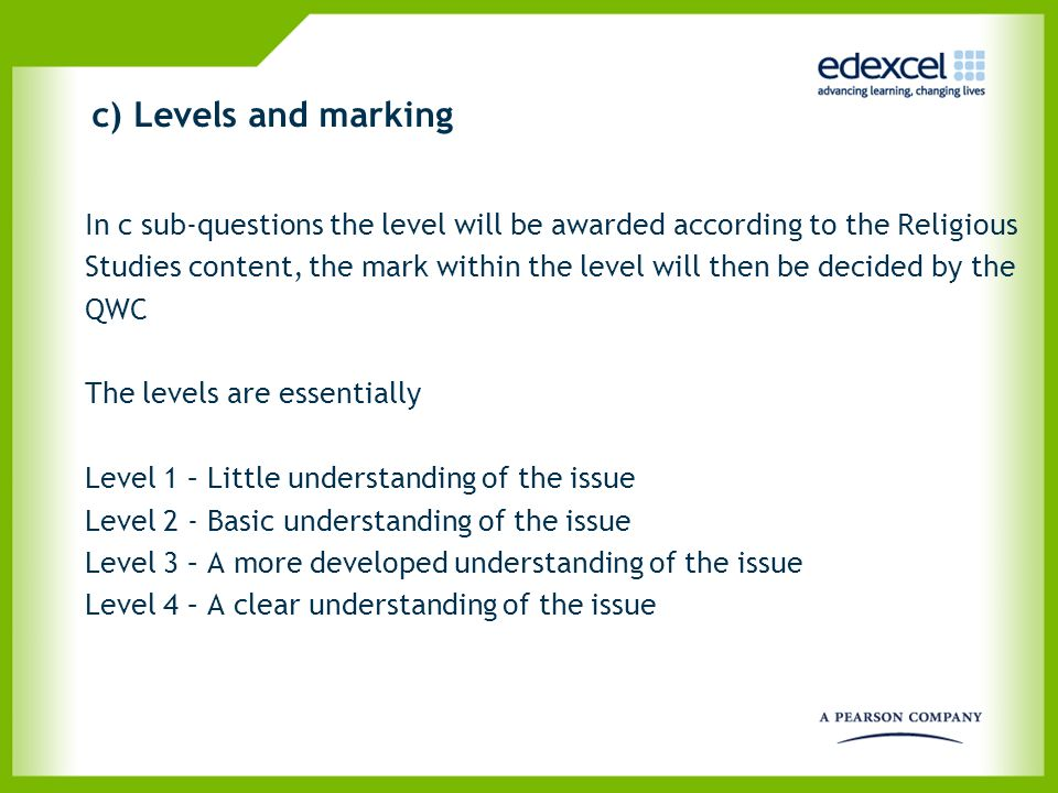 c) Levels and marking In c sub-questions the level will be awarded according to the Religious.