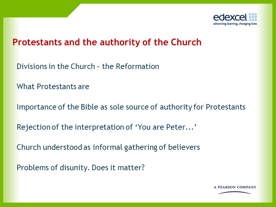 Protestants and the authority of the Church