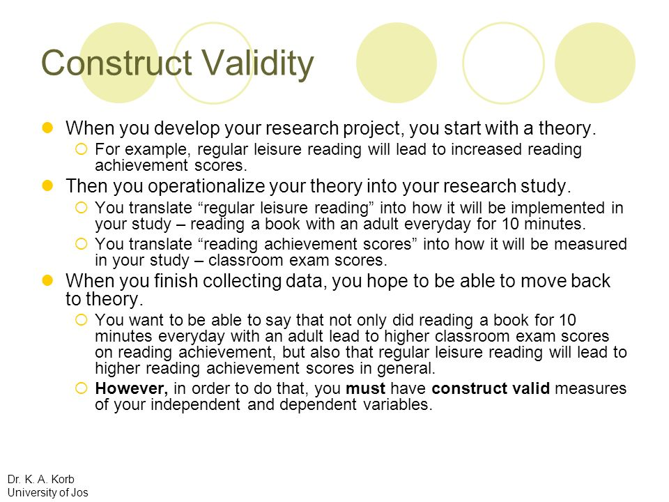 Construct Validity When you develop your research project, you start with a theory.