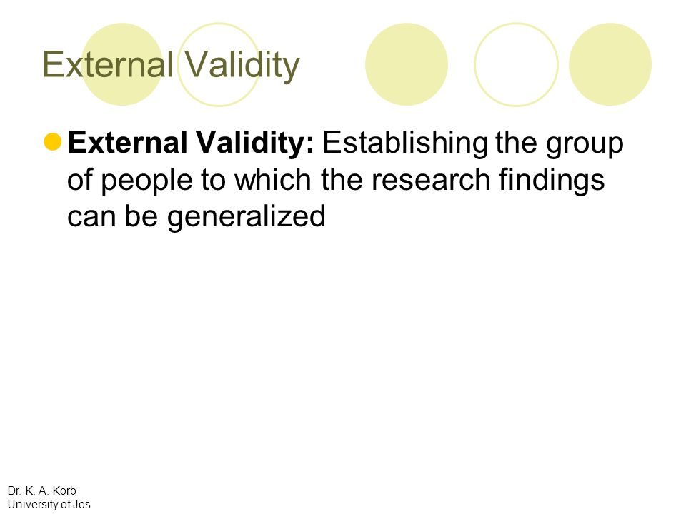 External ValidityExternal Validity: Establishing the group of people to which the research findings can be generalized.