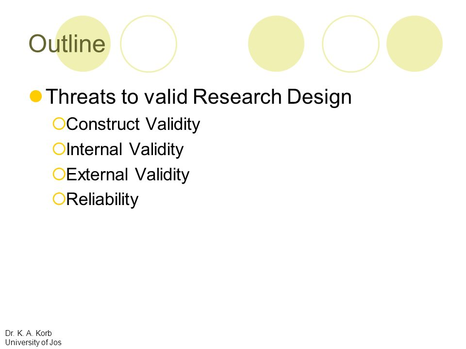 Outline Threats to valid Research Design Construct Validity