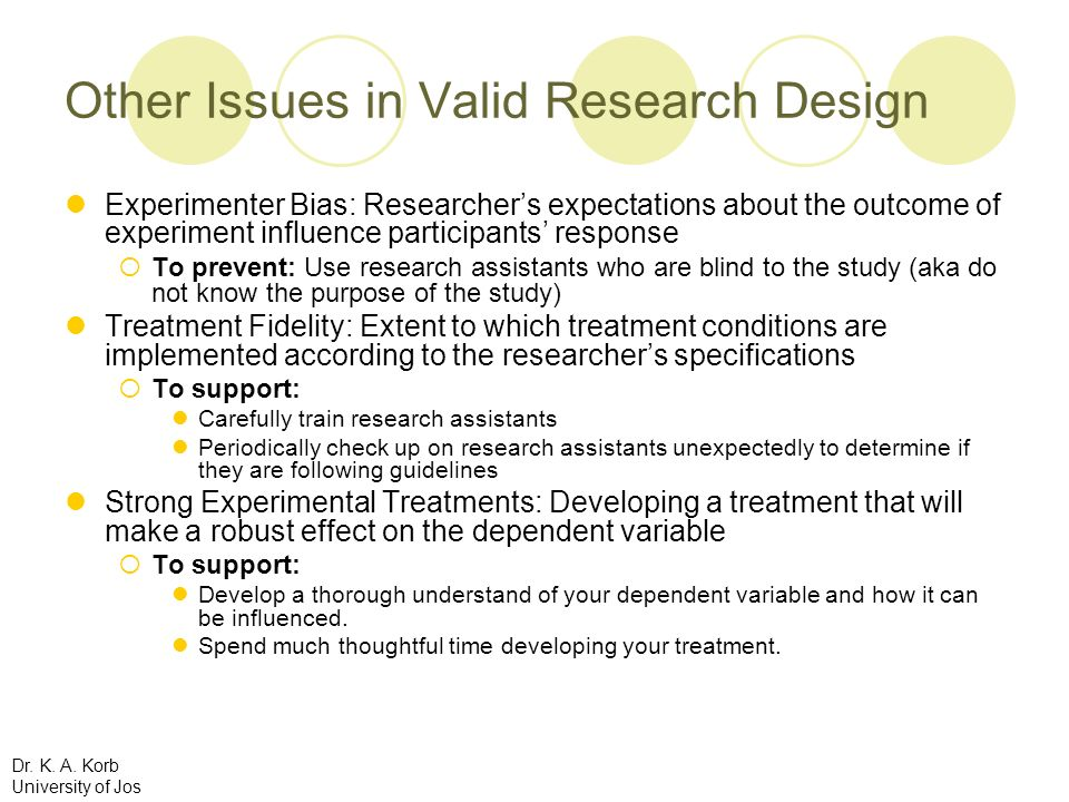 Other Issues in Valid Research Design