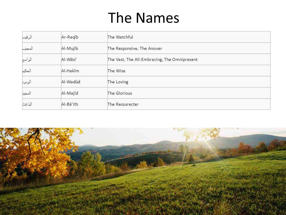 The Names الرقيب Ar-Raqīb The Watchful المجيب Al-Mujīb