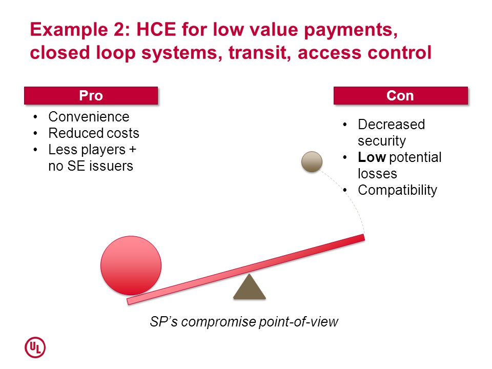 Example 2: HCE for low value payments, closed loop systems, transit, access control