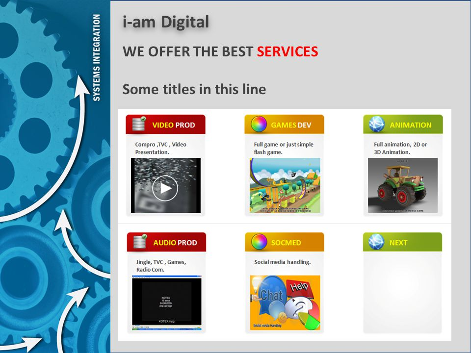 i-am Digital WE OFFER THE BEST SERVICES Some titles in this line