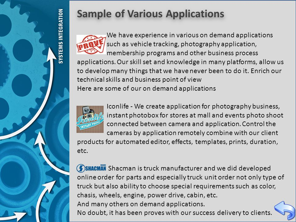 Sample of Various Applications