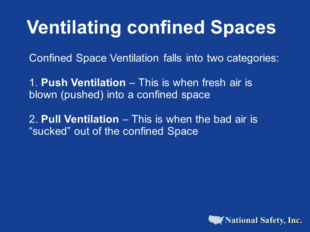 Ventilating confined Spaces