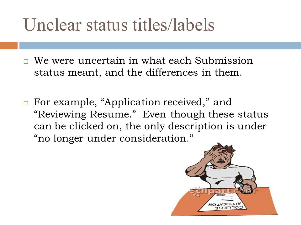 Unclear status titles/labels