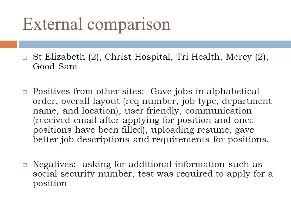 External comparison St Elizabeth (2), Christ Hospital, Tri Health, Mercy (2), Good Sam.