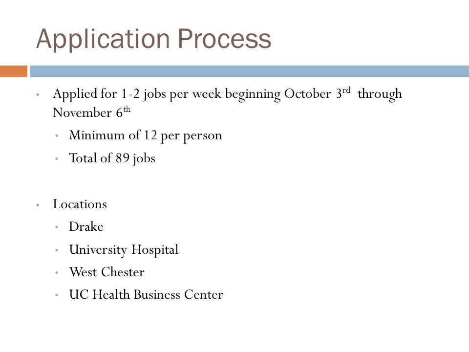 Application Process Applied for 1-2 jobs per week beginning October 3rd through November 6th. Minimum of 12 per person.