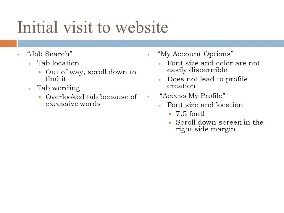 Initial visit to website