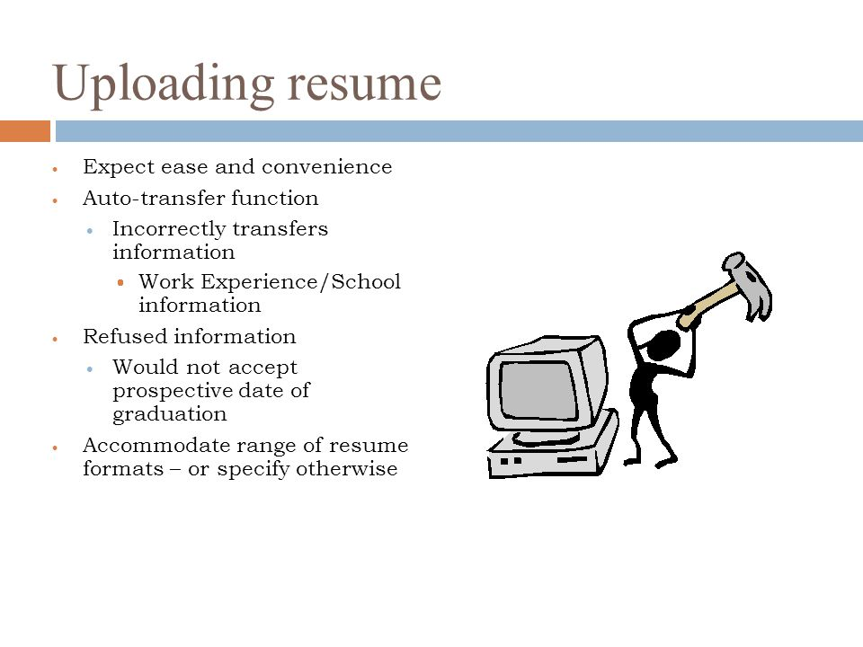 Uploading resume Expect ease and convenience Auto-transfer function