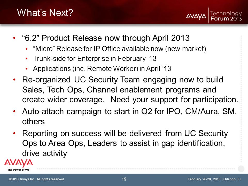 What's Next 6.2 Product Release now through April 2013