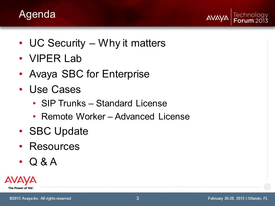 UC Security – Why it matters VIPER Lab Avaya SBC for Enterprise