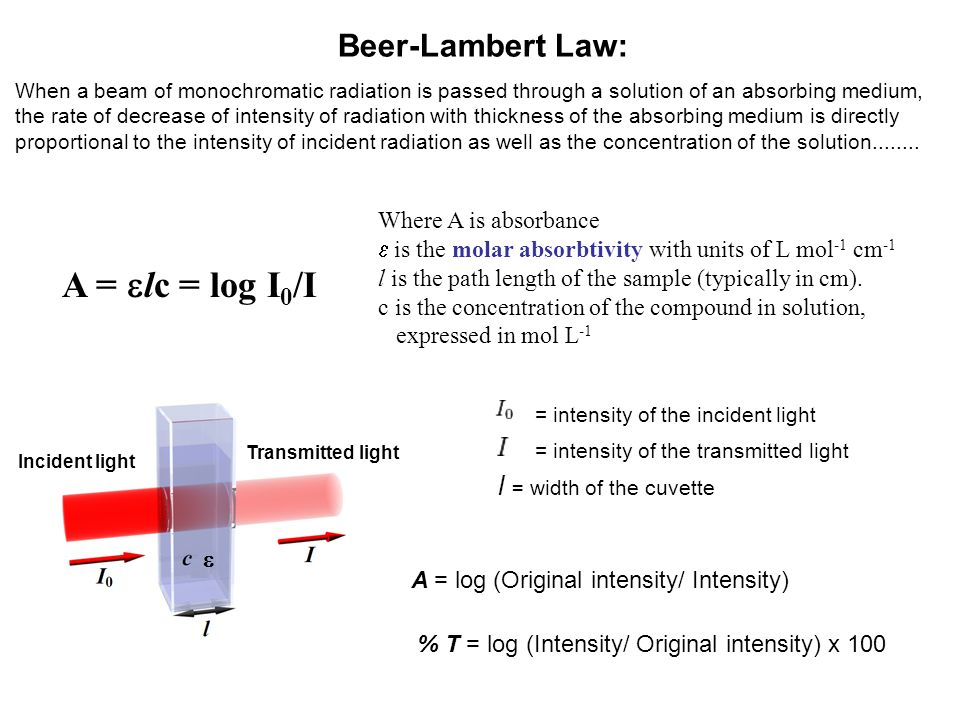 A = elc = log I0/I Beer-Lambert Law: l = width of the cuvette