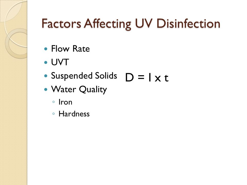 Factors Affecting UV Disinfection