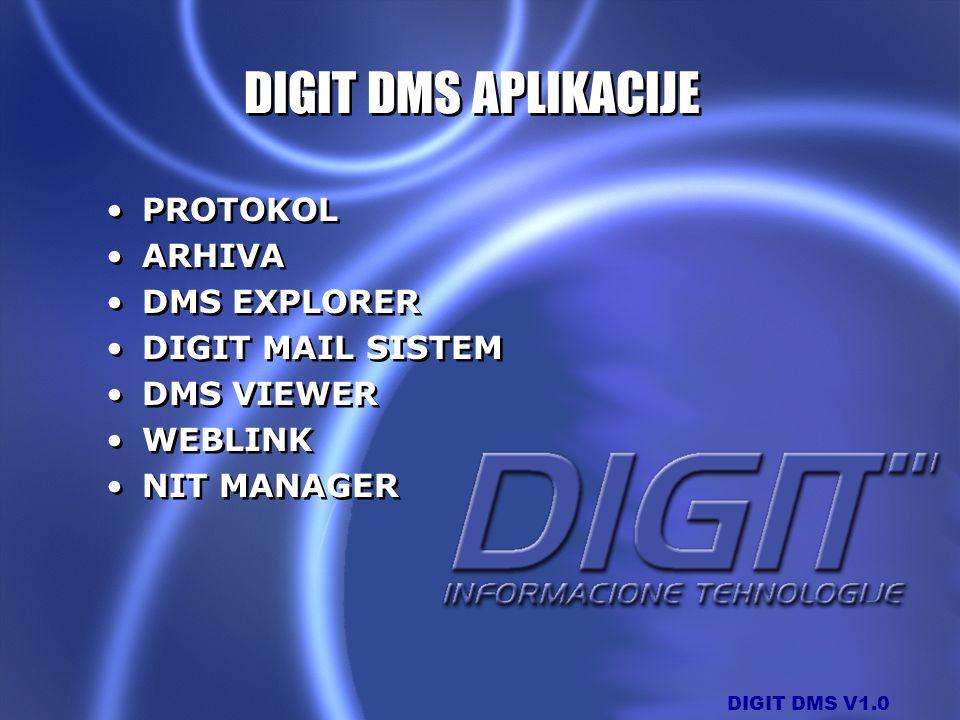 DIGIT DMS APLIKACIJE PROTOKOL ARHIVA DMS EXPLORER DIGIT MAIL SISTEM