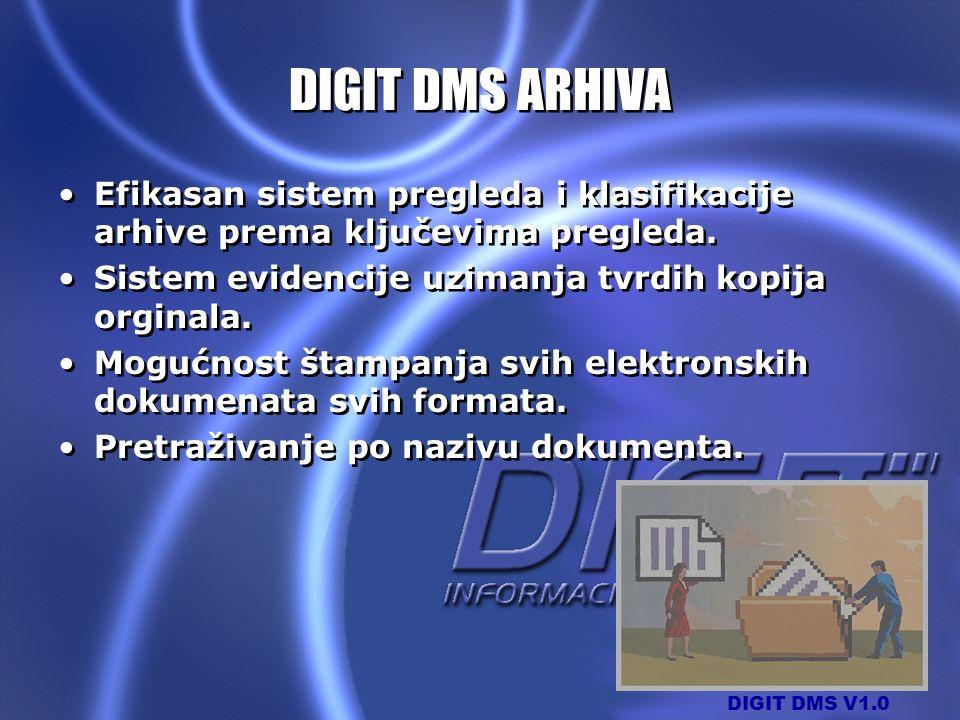 DIGIT DMS ARHIVA Efikasan sistem pregleda i klasifikacije arhive prema ključevima pregleda. Sistem evidencije uzimanja tvrdih kopija orginala.