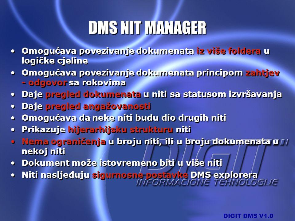 DMS NIT MANAGER Omogućava povezivanje dokumenata iz više foldera u logičke cjeline.