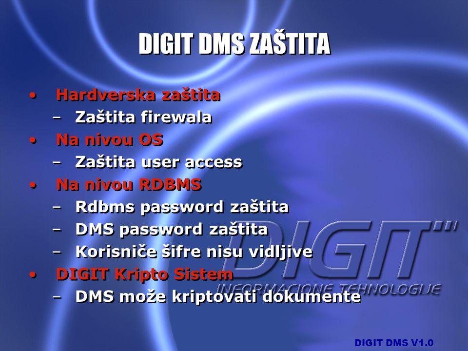 DIGIT DMS ZAŠTITA Hardverska zaštita Zaštita firewala Na nivou OS