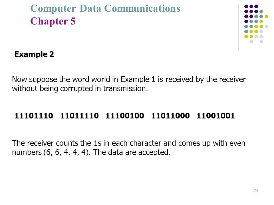 Example 2 Now suppose the word world in Example 1 is received by the receiver without being corrupted in transmission.