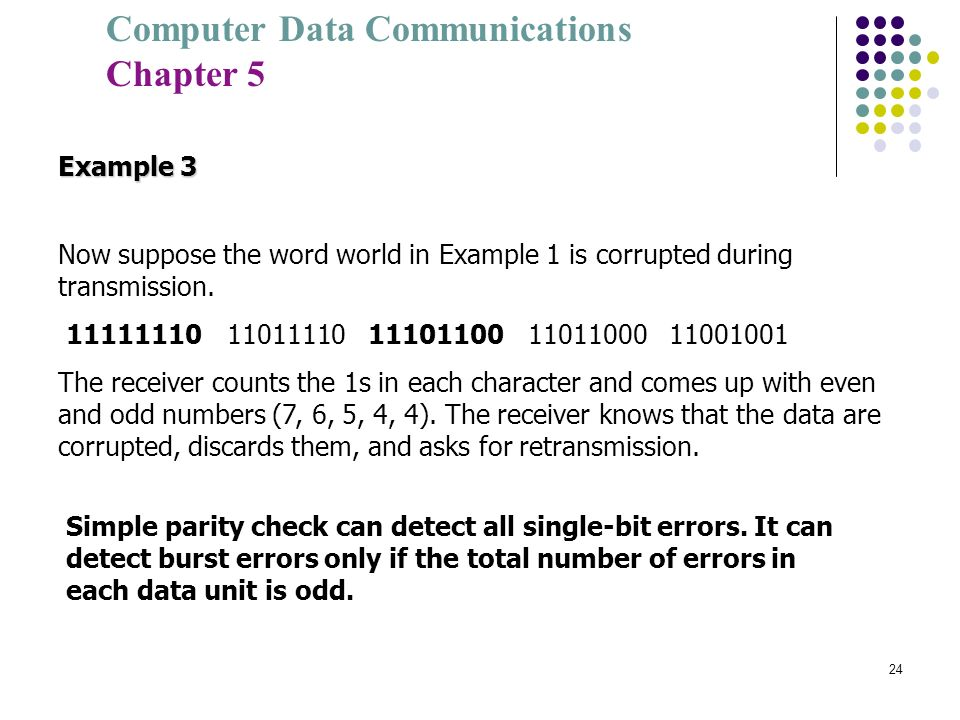 Example 3Now suppose the word world in Example 1 is corrupted during transmission. 11111110 11011110 11101100 11011000 11001001.