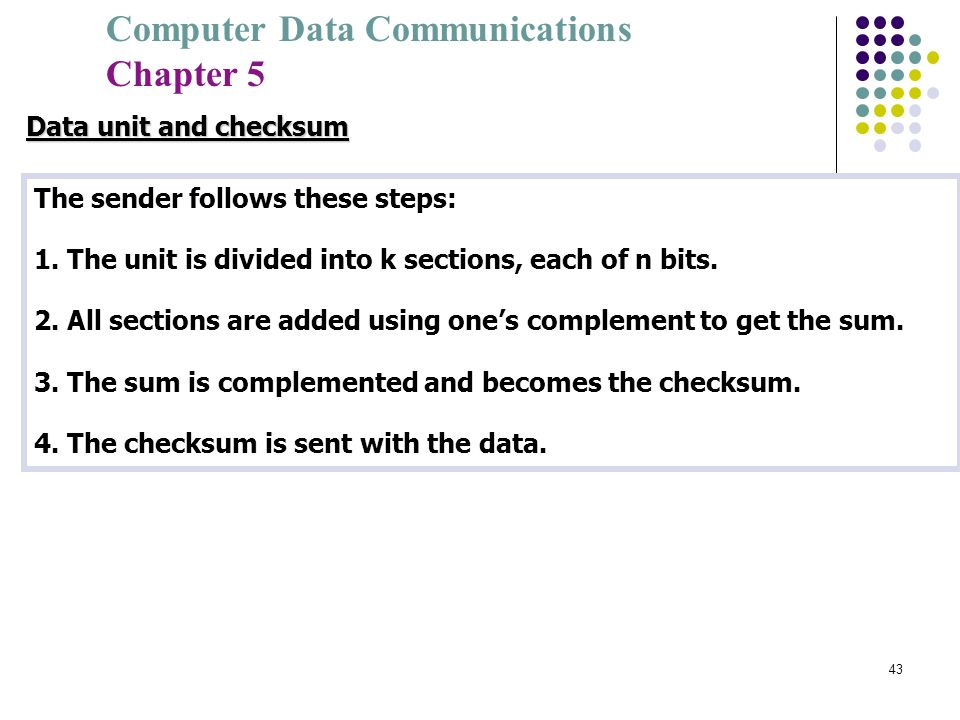 Data unit and checksumThe sender follows these steps: 1. The unit is divided into k sections, each of n bits.