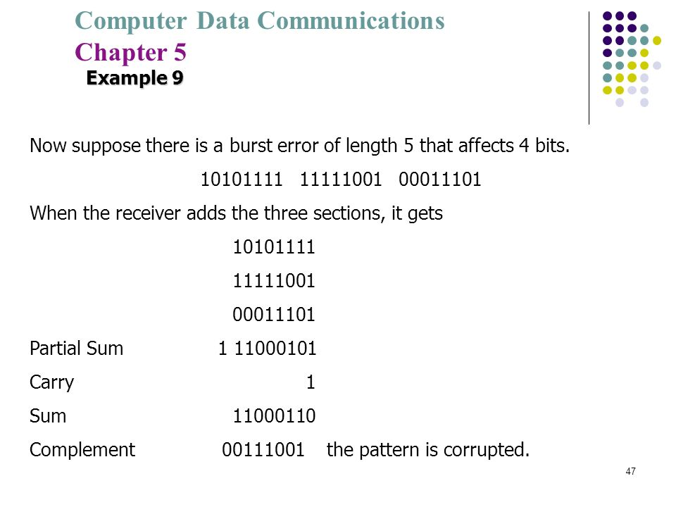 Example 9 Now suppose there is a burst error of length 5 that affects 4 bits. 10101111 11111001 00011101.