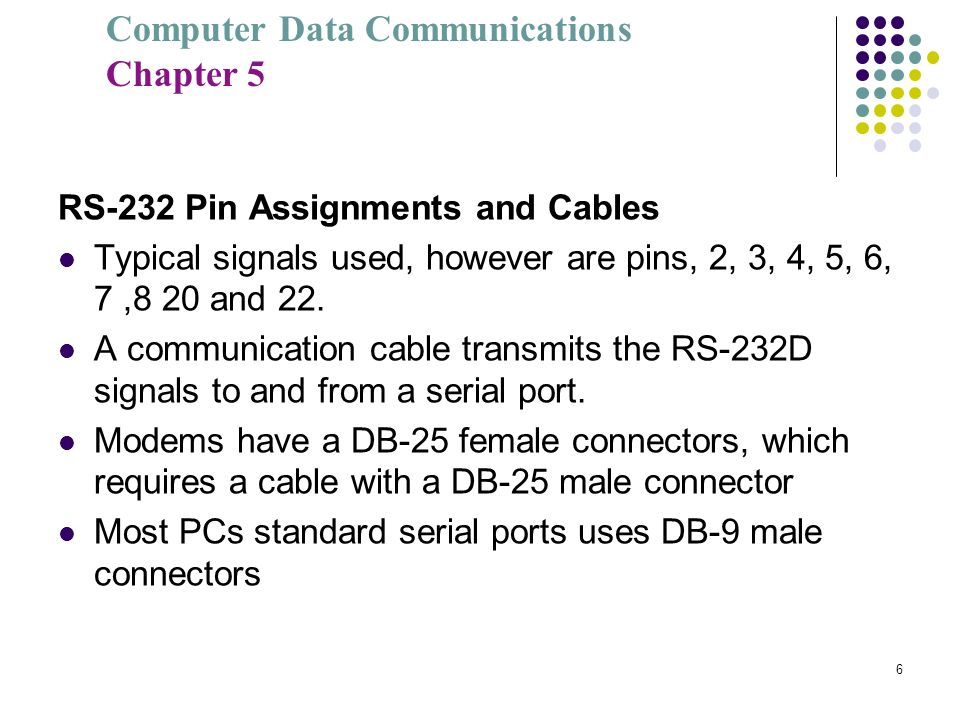 RS-232 Pin Assignments and Cables
