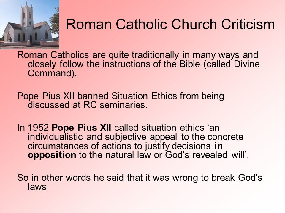 Roman Catholic Church Criticism