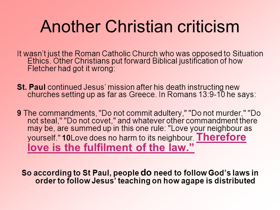 Another Christian criticism