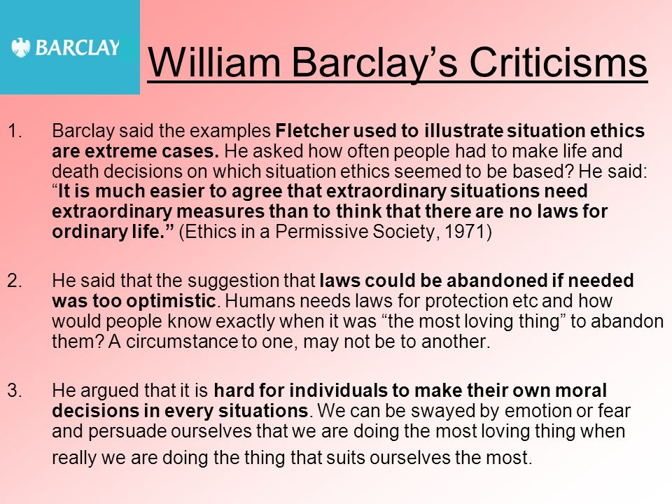 William Barclay's Criticisms