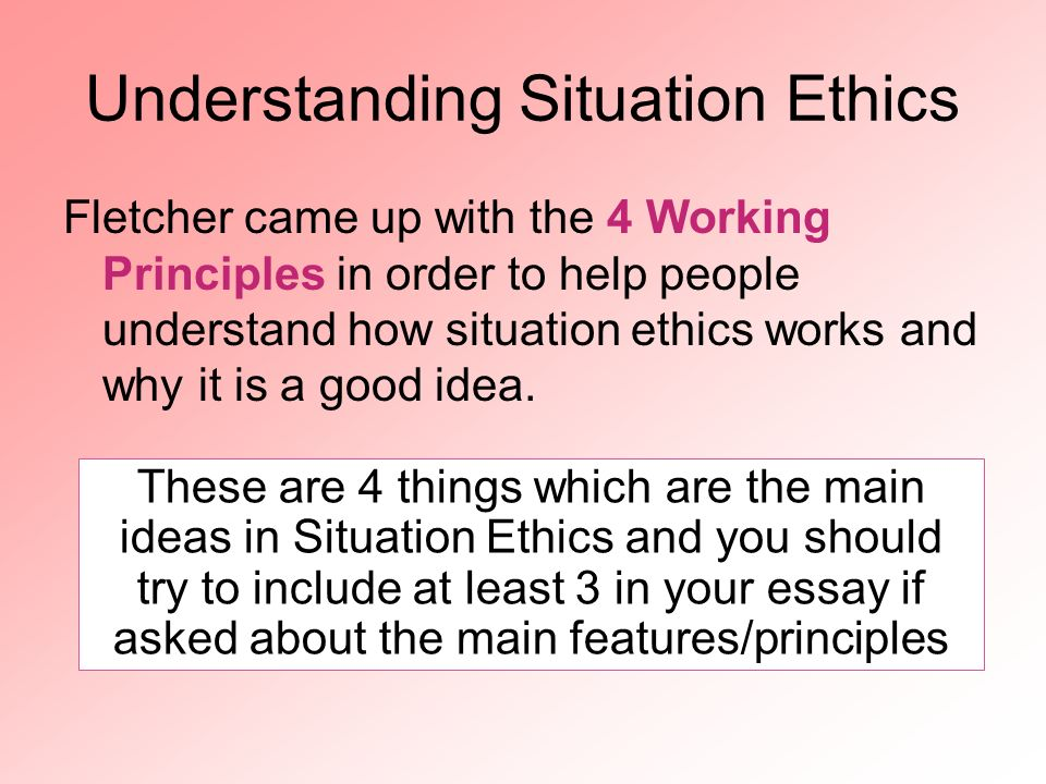 explain what is meant by situation ethics essay Learn more about research ethics, why they're important, and see situational examples.