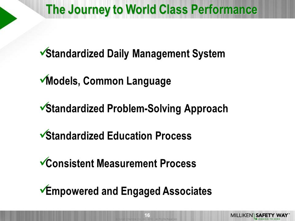 The Journey to World Class Performance